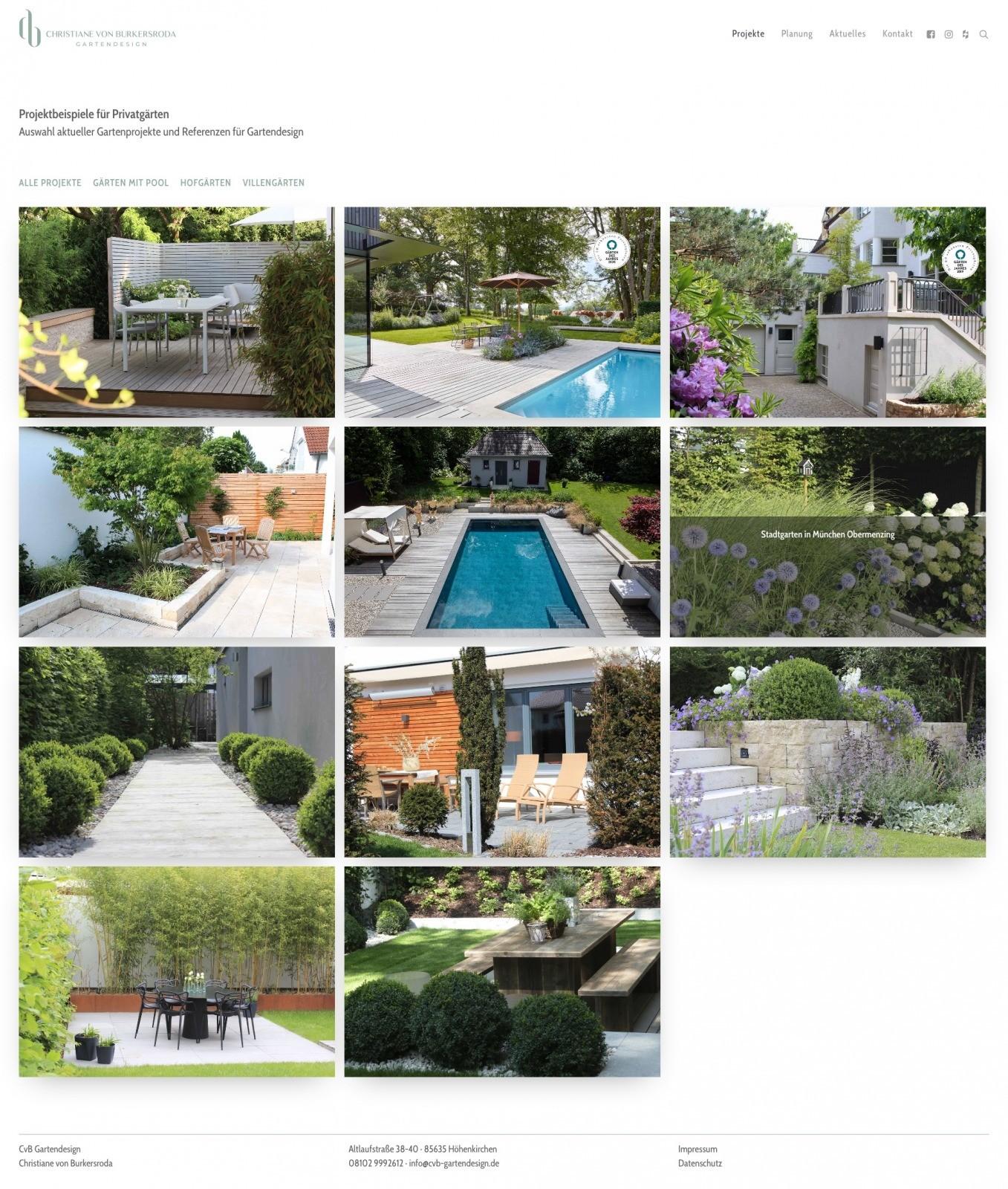 Privatgärten-Projekte im Überblick