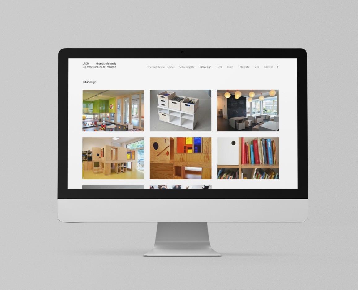 """Interior Design aus Berlin: Neue Wordpress-Website für Thomas Wienands, LPDM (Screenshot Seite """"Projekte Kitadesign"""", August 2020)"""