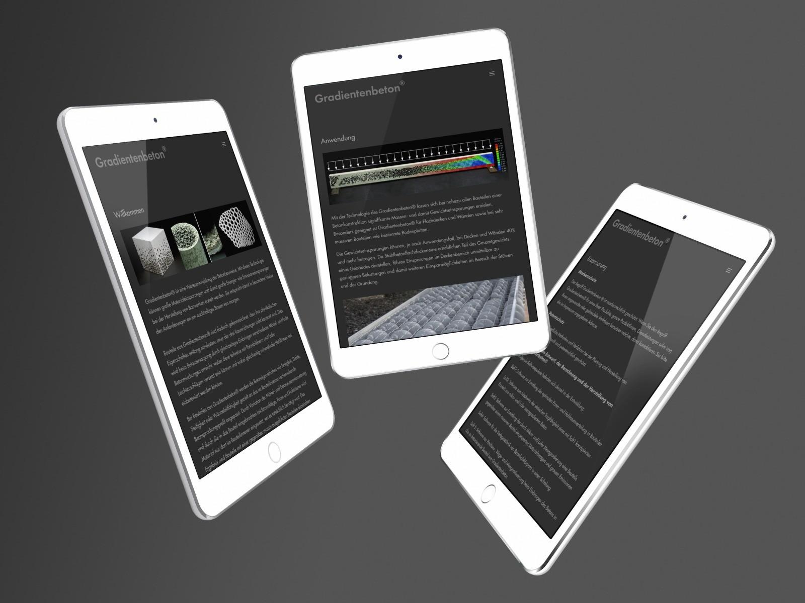 Die von mir erstellte Website über Gradientenbeton® der Werner Sobek Holding GmbH, Stuttgart (Screenshot Sommer 2020)