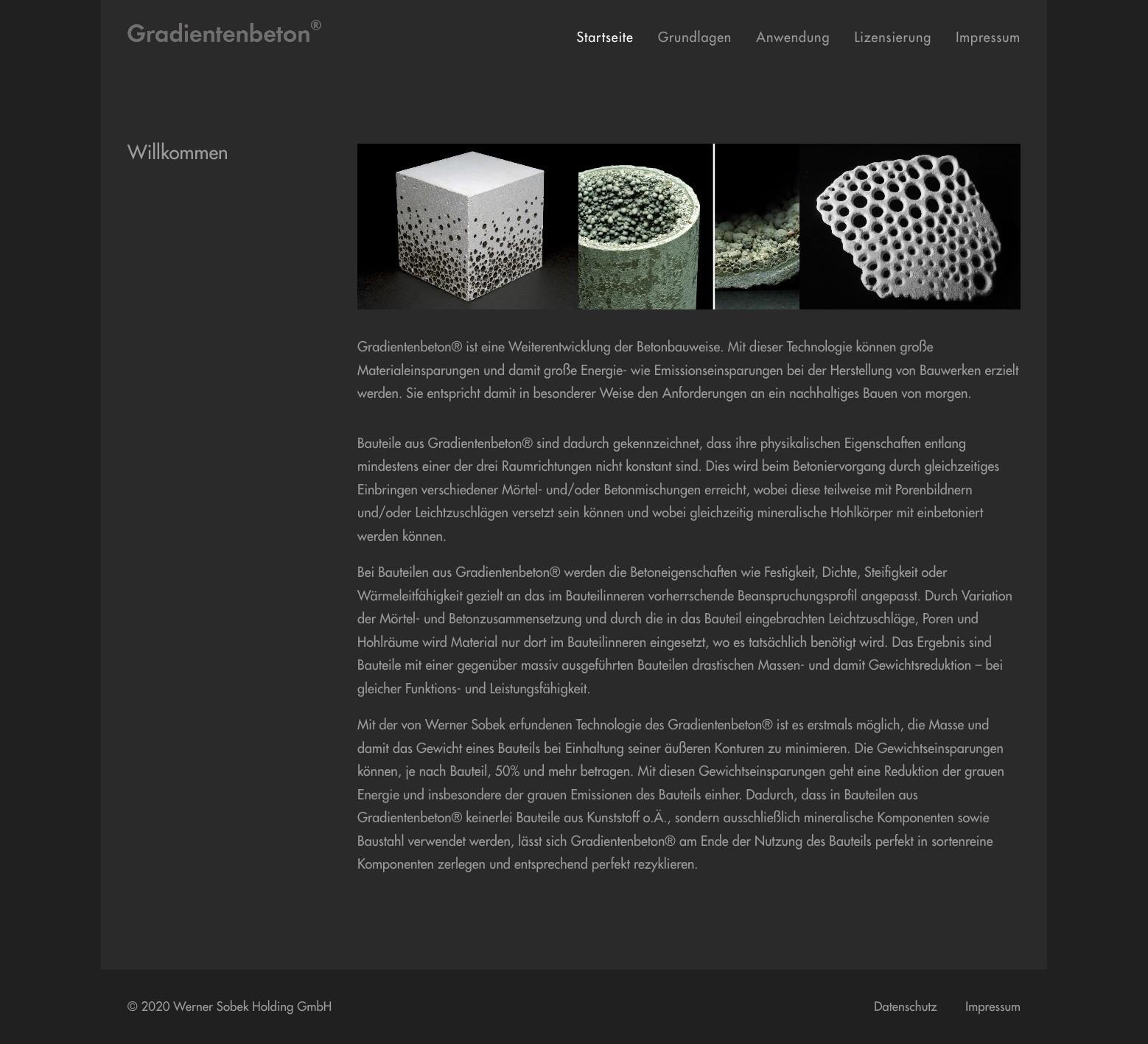 Die Startseite der neuen Website über Gradientenbeton®, Werner Sobek Holding GmbH, Stuttgart (Screenshot Sommer 2020)