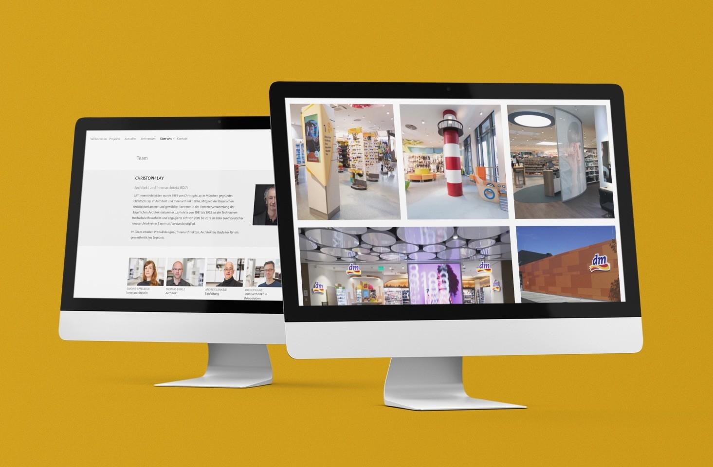 Neue Website für Münchner Innenarchitekten: lay-architekten.de (Screenshots; Collage: ericsturm.de)