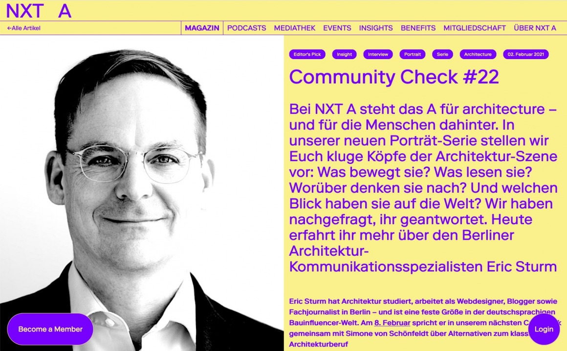 Interview mit Eric Sturm auf der Architektur-Plattform NXT A (Screenshot Februar 2021)