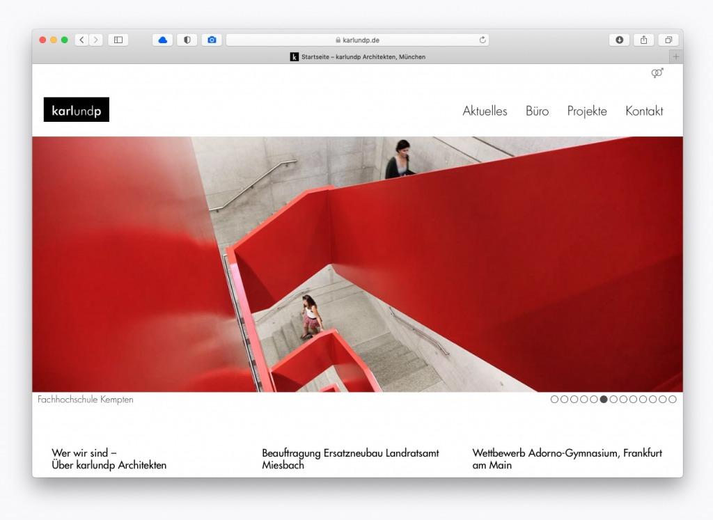 Die neue Büro-Website von karlundp aus München (Webdesign: Eric Sturm, Berlin)