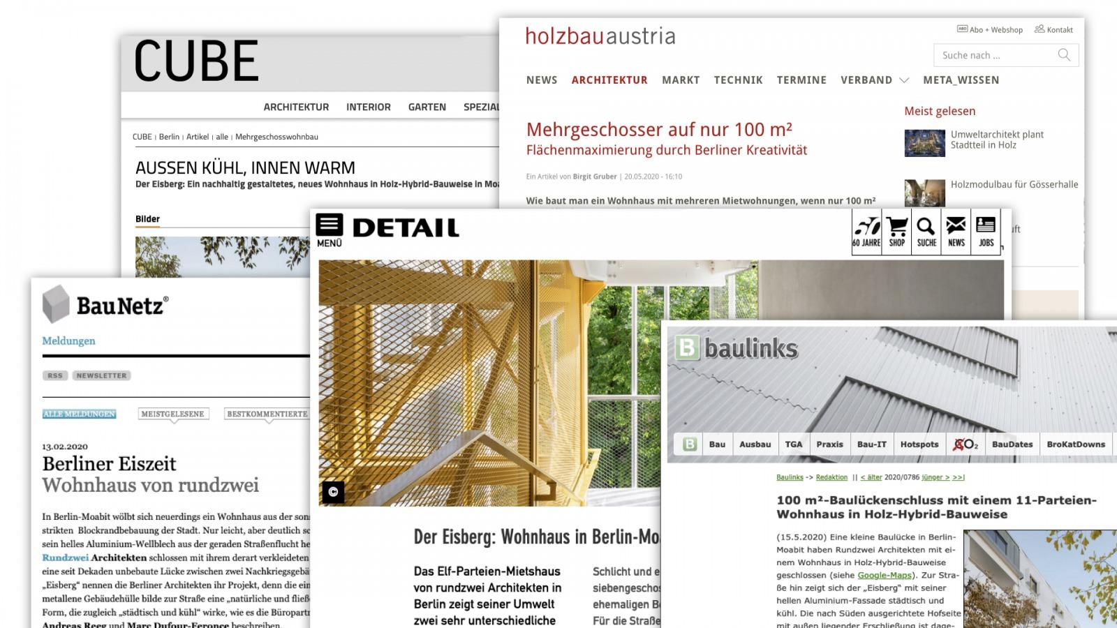"""Der """"Eisberg"""" in der Baufachpresse: Öffentlichkeitsarbeit für rundzwei Architekten BDA aus Berlin (Collage: Eric Sturm)"""
