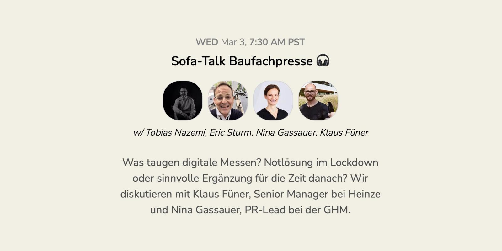 """Die Event-Ankündigung für unsern Talk zur """"Zukunft der Baufachmessen"""" auf Clubhouse (Screenshot, März 2021)"""