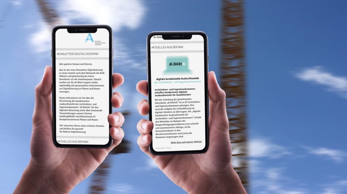 Neue Sendinblue-Newsletter für die Bundesarchitektenkammer: Ansicht NL Digitalisierung auf dem Smartphone (Collage: Eric Sturm)