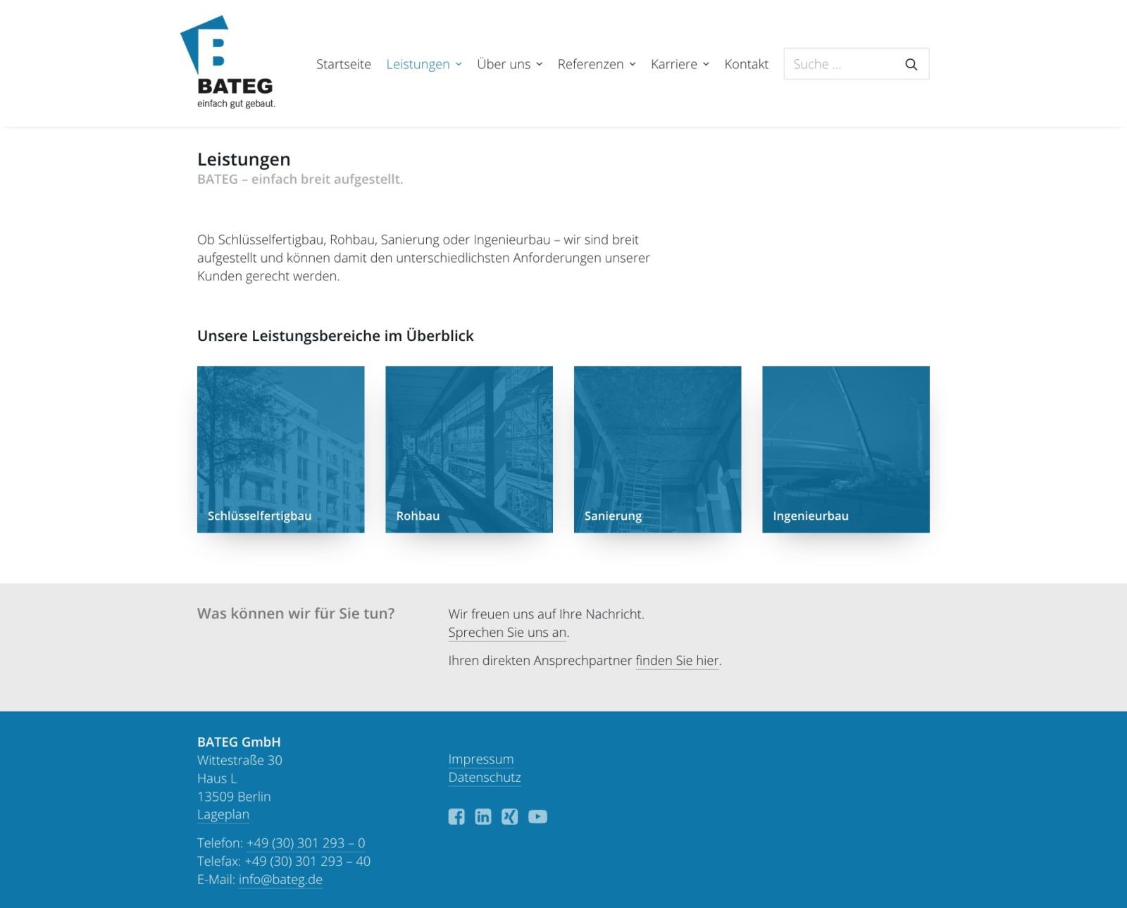 Die Leistungsbereiche des Bauunternehmens werden im Überblick sowie auf ausführlichen Unterseiten präsentiert (Screenshot: Eric Sturm)
