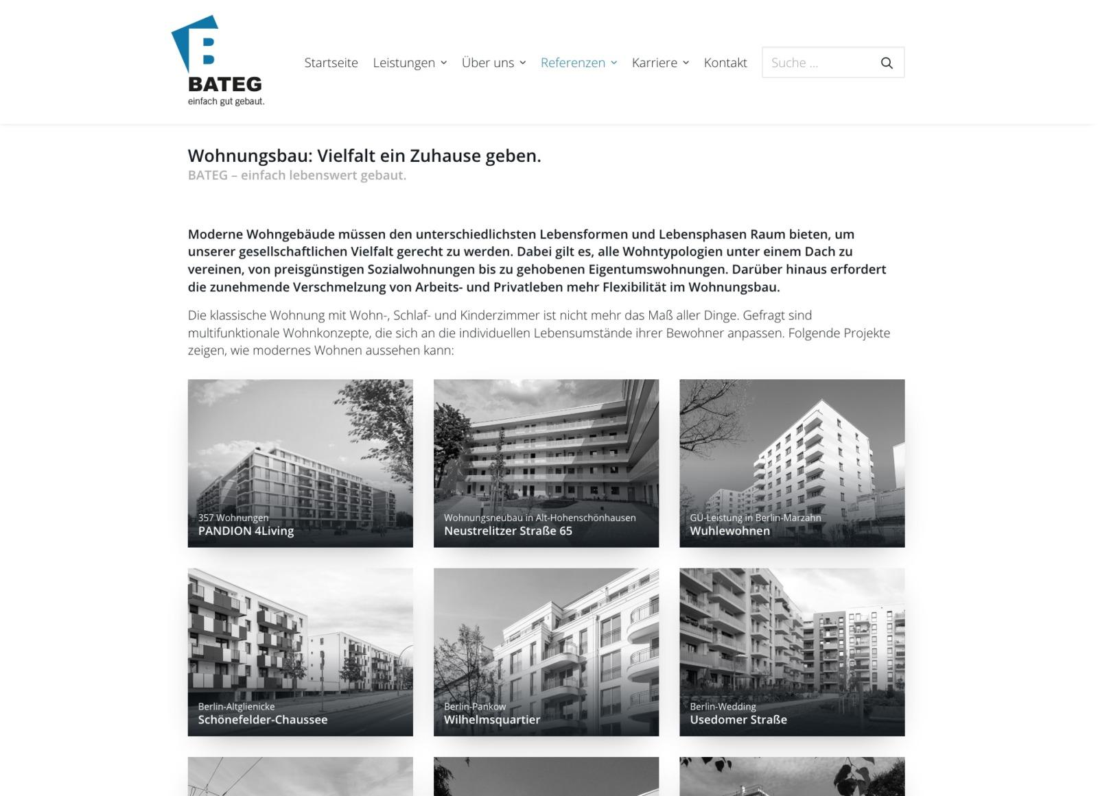 Wohnungsbau: Referenzen des Bauunternehmens im Überblick (Screenshot: Eric Sturm)