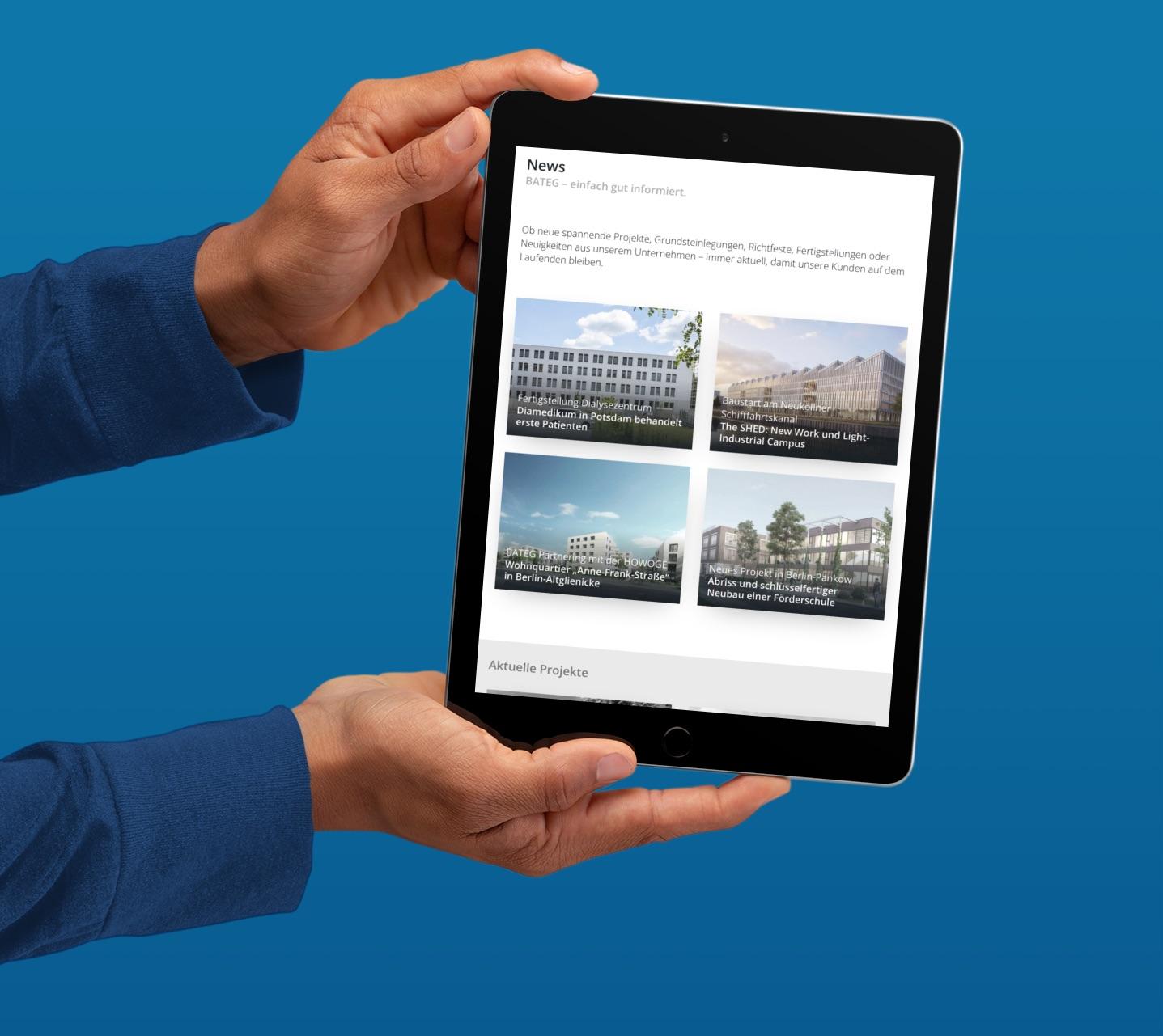 """Die Rubrik """"News"""" informiert über aktuelle Bauprojekte der BATEG (Collage: Eric Sturm)"""