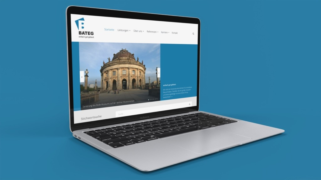 Die Startseite der von mir neu gestalteten BATEG-Website (Konzeption, Design, CMS-Produktion); Screenshot: Eric Sturm